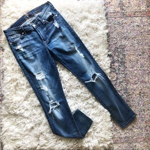 7FAM | The Ankle Skinny Distressed Jeans 27